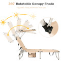 Adjustable Outdoor Recliner Chair with Canopy Shade