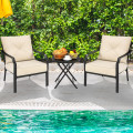 2 Pieces Patio Dining Chairs Set with Padded Cushions Armrest Steel Frame