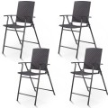 Set of 4 Folding Rattan Bar Chairs with Footrests and Armrests for Outdoors and Indoors