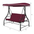3 Seats Outdoor Swing Hammock with Adjustable Tilt Canopy