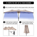 15 ft Double-Sided Outdoor Patio Umbrella with Crank without Base