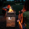 40000BTU Outdoor Propane Burning Fire Bowl Column Realistic Look Firepit Heater