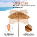 6.5ft Portable Thatched Tiki Beach Umbrella with Adjustable Tilt for Poolside and Backyard