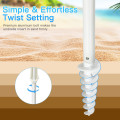 7.2 FT Portable Outdoor Beach Umbrella with Sand Anchor and Tilt Mechanism for  Poolside and Garden