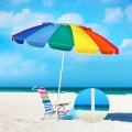 8FT Portable Beach Umbrella with Sand Anchor and Tilt Mechanism for Garden and Patio