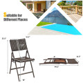 Set of 2 Patio Rattan Folding Portable Dining Chairs