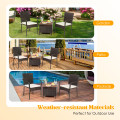 3 PCS Patio Rattan Furniture Bistro Set with Wood Side Table and Stackable Chair