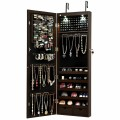 Lockable Wall Mount Mirrored Jewelry Cabinet with LED Lights