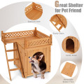 Wood Pet Dog House with Roof Balcony and Bed Shelter