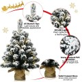 24 Inch Pre-Lit Snow Flocked Tabletop Battery Operated Christmas Tree
