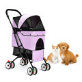 Pet Foldable Cage Stroller For Cats And Dogs