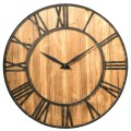 """30"""" Round Wall Clock Decorative Wooden Silent Clock with Battery"""