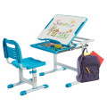 Kids Height Adjustable Desk and Chair Set with Tilted Tabletop and Drawer