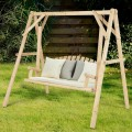 Wooden Porch Bench Swing Chair with Outdoor Rustic Curved Back