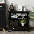 3-Tier Storage Rack End table Side Table with Slide Drawer