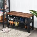 3-Tier Shoe Rack Industrial Shoe Bench with Storage Shelves