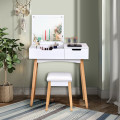 Vanity Makeup Table Cushioned Stool Set with Flip Top Mirror