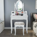 Vanity Table Set with Oval Mirror and 4 Drawers