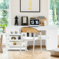 Folding Sewing Table Shelves Storage Cabinet Craft Cart with Wheels