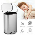 13.2 Gallon Stainless Steel Trash Garbage Can with Bucket