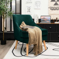 Velvet Upholstered Accent Chair with Rubber Wood Legs