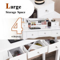 10 Dimmable Light Bulbs Vanity Dressing Table with 2 Dividers and Cushioned Stool