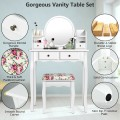 Makeup Vanity Table Set Girls Dressing Table with Drawers Oval Mirror