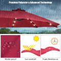 15 Feet Solar LED Patio Double-sided Umbrella with Weight Base