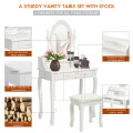 Wood Vanity Table Set with Oval Mirror and 4 Drawers for Kids Girls Women