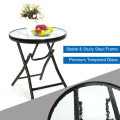 3 Pieces Outdoor Folding Rocking Chair Table Set with Cushion