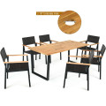 7 Pcs Outdoor Patio Rattan Dining Furniture Table Set with Wicker Chairs