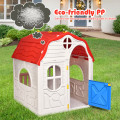 Kids Cottage Playhouse Foldable Plastic Indoor Outdoor Toy
