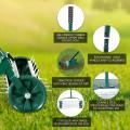 Reward-18-inch Rolling Lawn Aerator roller Push Tine Soil with Fender