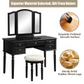 Tri-Fold Mirror Wooden Vanity Set Makeup Dressing Table with Stool and 5 Drawers