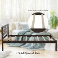 Twin/Full Size Wood Platform Bed Frame with Headboard