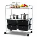 4 Drawers Shelves Rolling Storage Cart Rack