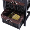 3 Tier Set of 2 Wood Nightstand with 1 Drawer and 2 Basket