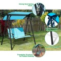 2 Person Patio Swing with Weather Resistant Glider and Adjustable Canopy