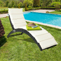 Folding Patio Rattan Portable Lounge Chair Chaise with Cushion