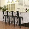 Set of 4 Modern Metal Industrial Bar Stools with Removable Back