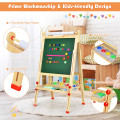 Kids Art Easel with Paper Roll Double-Sided Regulable Drawing Easel Plank