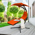 Hanging Stand Chaise Lounger Swing Chair with Pillow