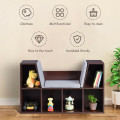6-Cubby Kid Storage Bookcase Cushioned Reading Nook