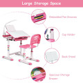 Adjustable Kids Desk Chair Set with Lamp and Bookstand