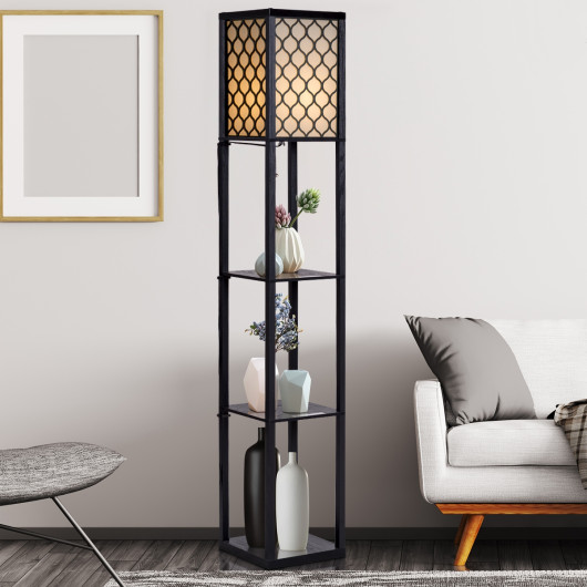 Modern Grid Shade Floor Lamp w/ 3 Storage Shelves
