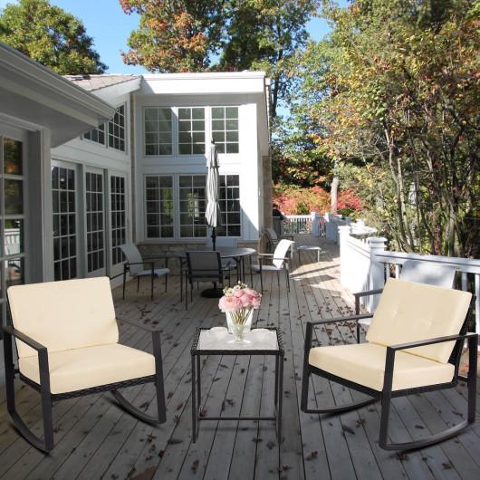 3 pcs Rattan Wicker Rocking Chair Set Garden with Cushions