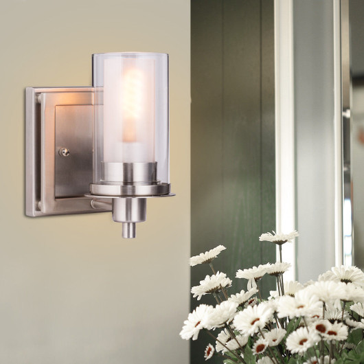 Wall Mounted One - Light  Brushed Nickel Bulb Vanity Light